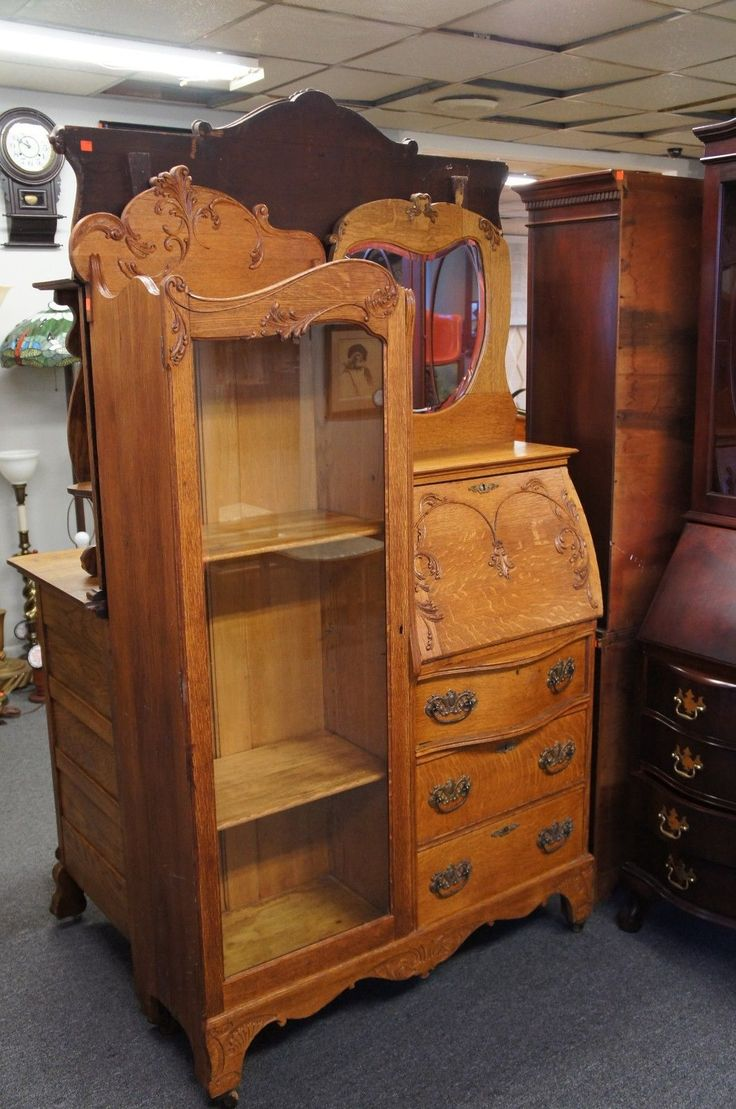 Antique arts and crafts furniture - Early 20th C Antique Oak Larkin Secretary Desk Bookcase Mirrored Arts Craft