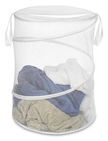 Collapsible (flat pack) white nylon mesh spiral laundry holder