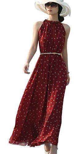 Dayiss ® señoras elegante femenino vestido gasa verano del hombro maxi playa vestido largo sin mangas ocio salpicados puntos óptica de vestido con puntos de cinturón negro (rojo): #Moda #Vestido