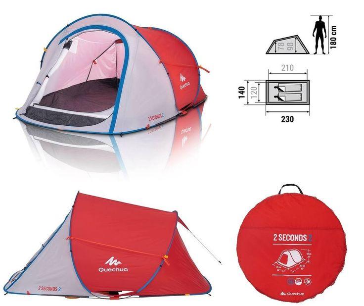 Quechua 2 Seconds Pop Up Wurfzelt 2 Personen Zelt Campingzelt Tent Festival Mann