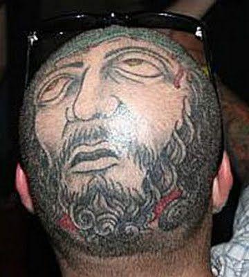 nice funny head tattoo