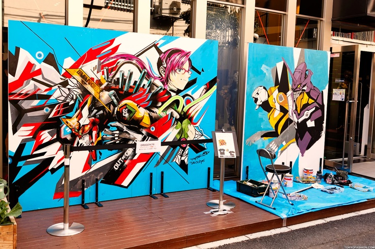 Japanese artist Dragon76 was live painting outside of the Harajuku Evangelion Store