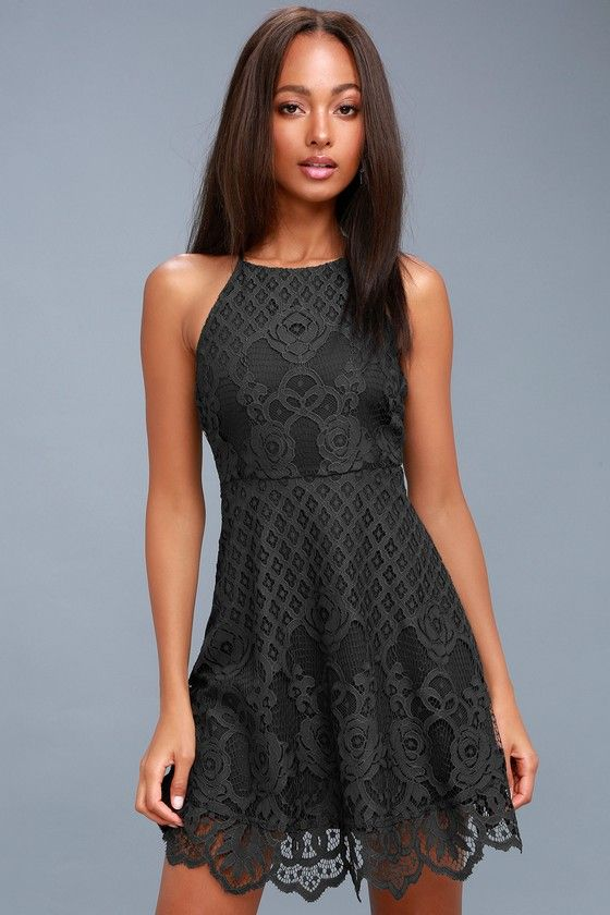 4960b10d40bcb Attract compliments like a magnet in the Black Swan Charlotte Charcoal Grey Lace  Skater Dress! A high