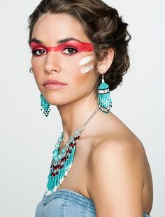 indian face paint - Maybe do this in a turquoise