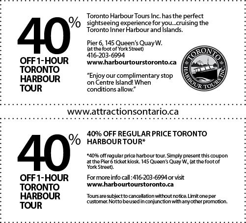 Toronto Harbour Tours - 2015 Summer Coupon