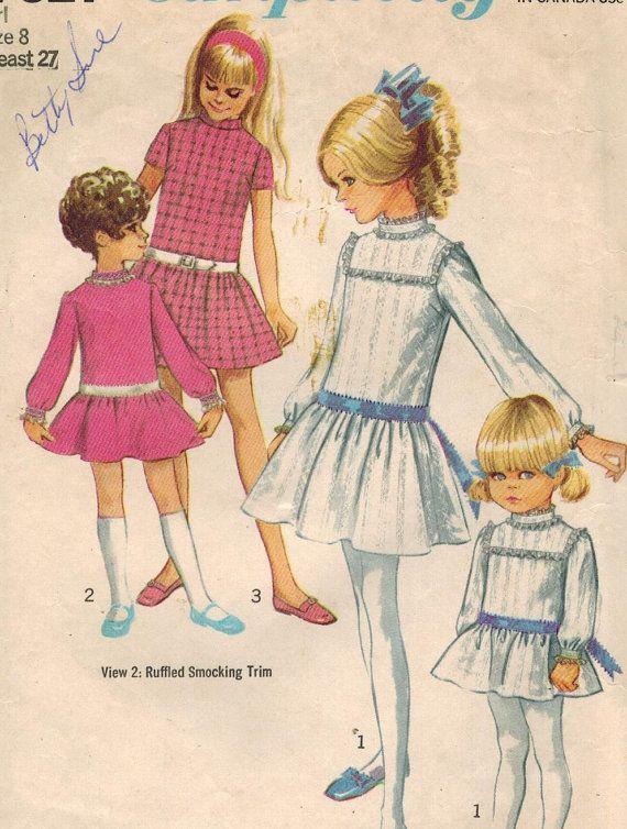 1960s Simplicity 7921 Vintage Sewing Pattern Girl's Drop Waist Dress Size 8