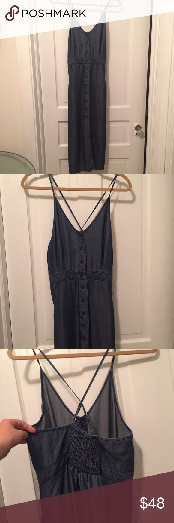 Denim midi dress MIDI denim dress. Button down the from. Adjustable spaghetti straps. Cinching in the back for waist definition. Anthropologie Dresses Midi
