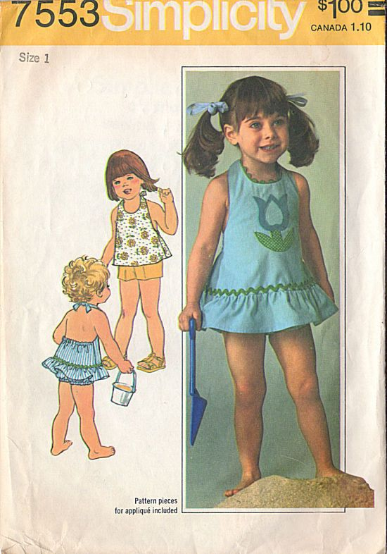Vintage Original Simplicity Little Girls' Halter Dress or Top Shorts and Bloomers Sewing pattern. Dress or top with back elastic and ties has optional applique. Rick-rack trimmed dress has ruffle. Blo