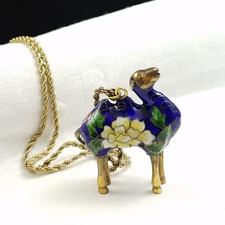 Vintage Cloisonne Camel Pendant Necklace Unique Cloisonne Brass Camel Figural Cloisonne Camel by FernRockDesign on Etsy