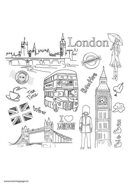 travel doodles london colouring page  mummypages.ie