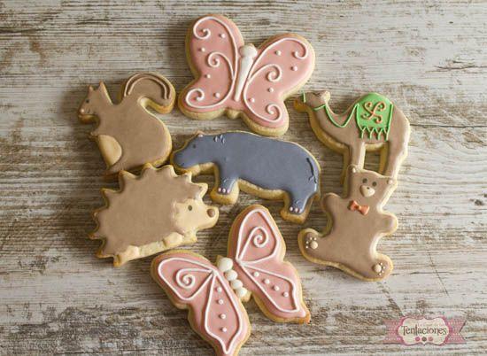 Galletas decoradas de animales: mariposas, ardilla, camello, oso, hipopotamo, erizo   La Casa de las Tentaciones