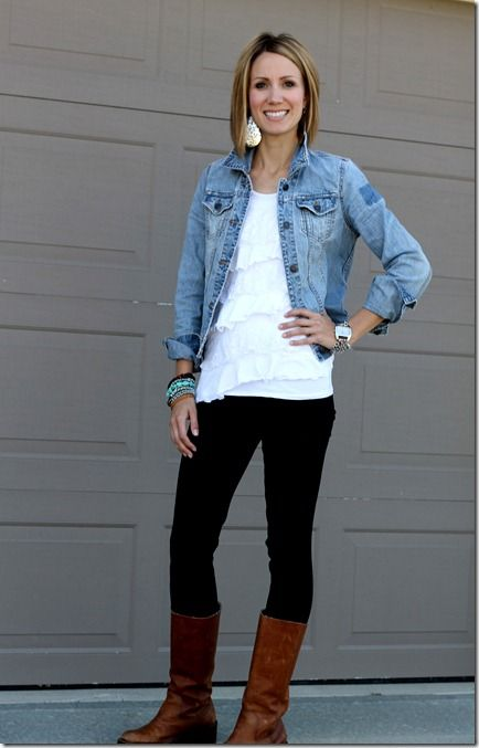denim jacket, leggings, lace, brown boots - I have all this, so the replicated look is on my to-do!