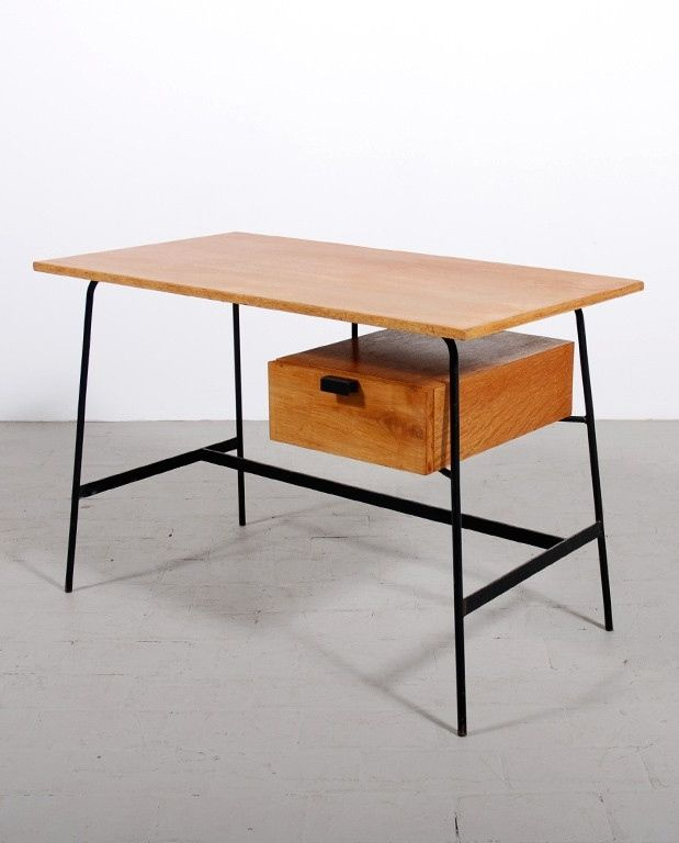 Pierre Paulin; #ST 280 Oak and Enameled Metal Desk for Thonet, 1953.