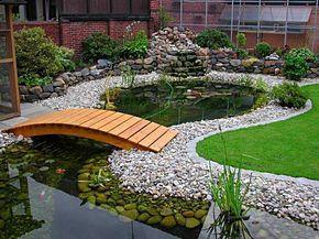 Garden pondlove the wooden bridges
