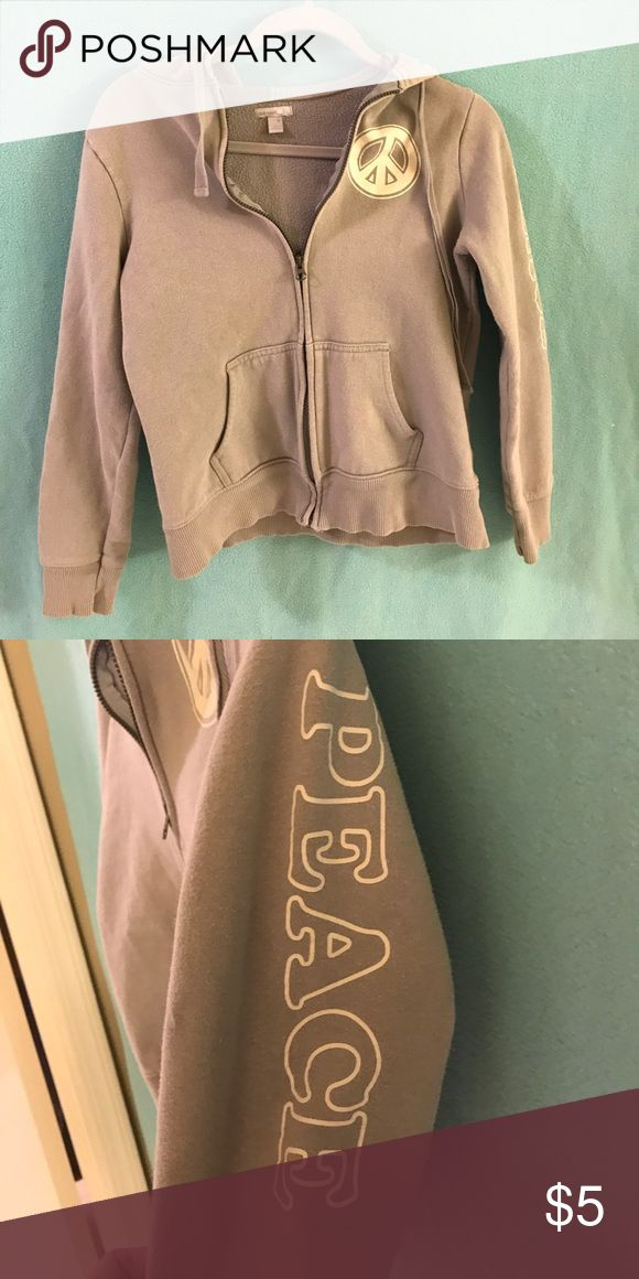 Old Navy Zip Up Peace Hoodie Grey Old Navy Hoodie. Zip up. Peace writing. Runs small Tops Sweatshirts & Hoodies