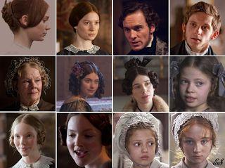 Mia Wasikowska (Jane Eyre), Michael Fassbender (Mr. Rochester), Jamie Bell (St John Rivers), Judi Dench (Mrs. Fairfax), Imogen Poots (Blanche Ingram), Sally Hawkins (Mrs. Reed), Romy Settbon Moore (Adèle Varens), Tamzin Merchant (Mary Rivers), Holliday Grainger (Diana Rivers), Amelia Clarkson (Young Jane), Freya Parks (Helen Burns) - Cast of Jane Eyre (2011) #charlottebrontë