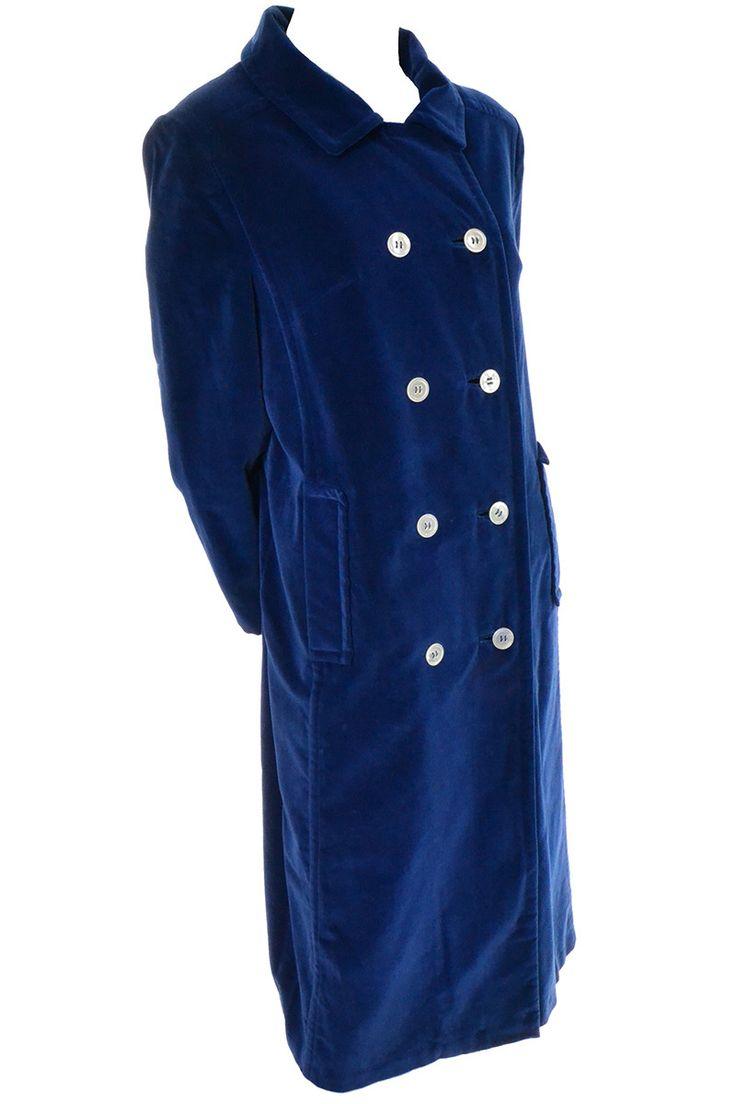 Bon Marche Russells Blue Velvet Vintage Coat Double Breasted 1960s
