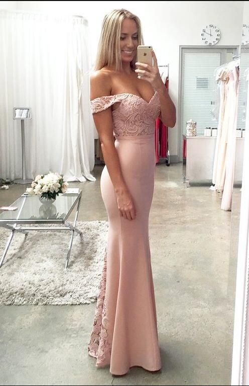 Charming Off the Shoulder Prom Dress, Sexy Sweetheart