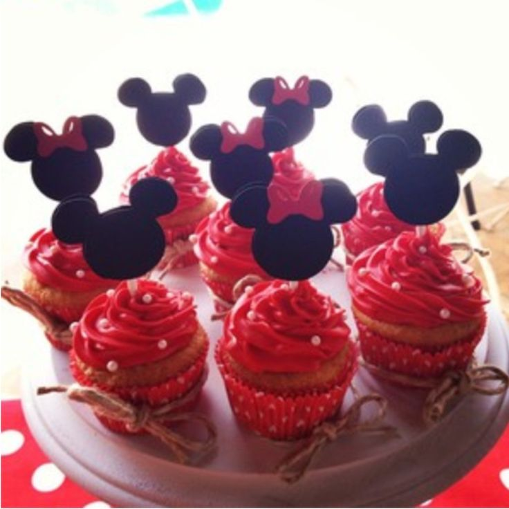 Minnie & Mickey Mouse Cupcake Toppers from TIffany's Glitzy Boutique   Square Market