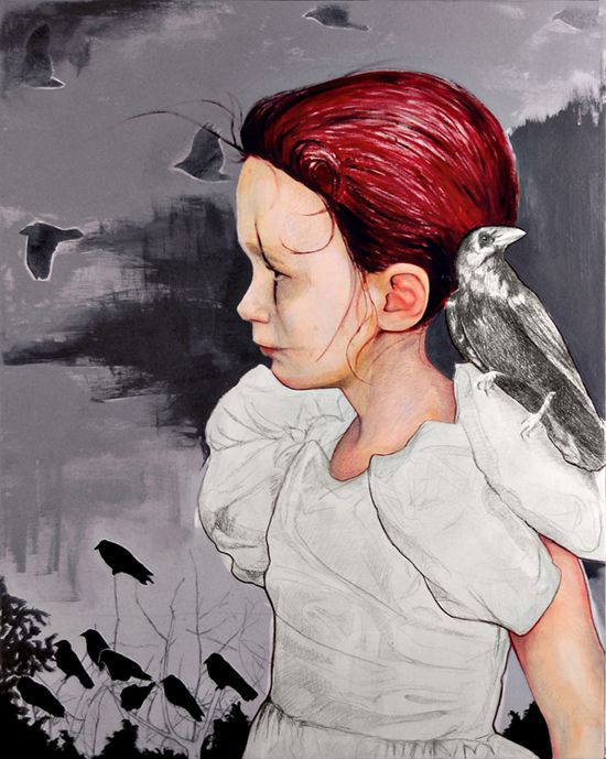 The Crow  24 x 30  Graphite / Acrylic / Oil on Canvas  © Michael Shapcott 2008