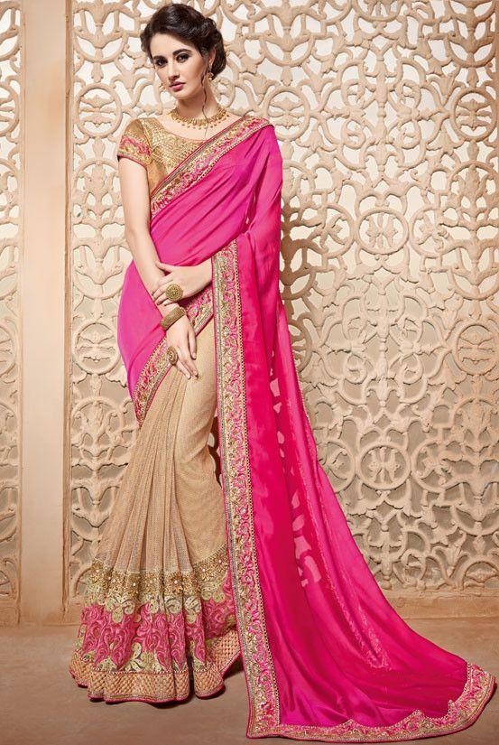 Breathtaking Beige and Rani Pink #Saree