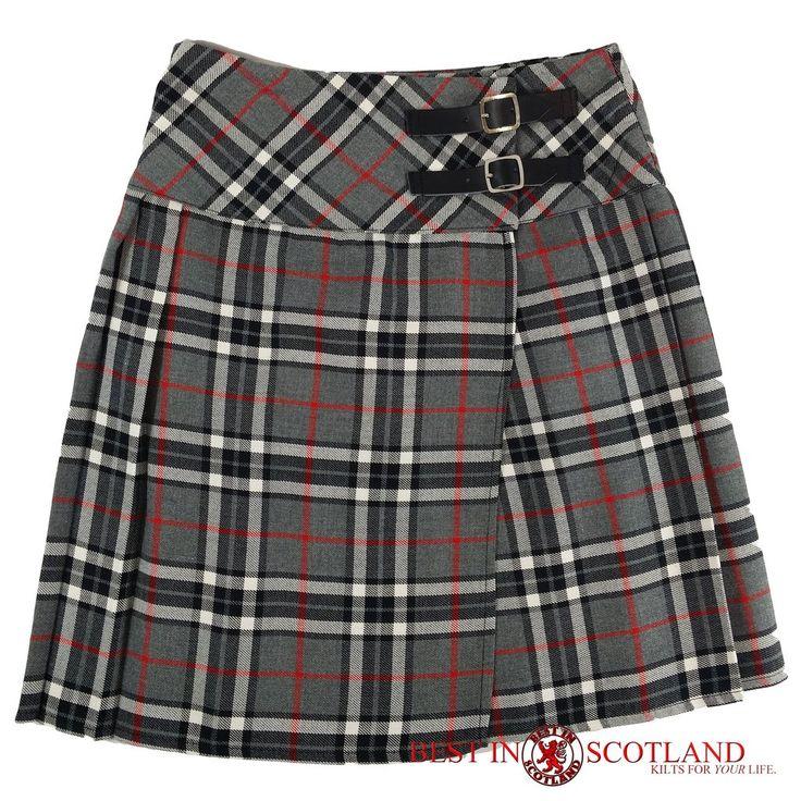 Ladies' Grey Tartan Billie Kilt - Mid-Length Skirt