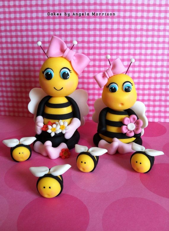 Set of bees cake toppers by CakesbyAngela on Etsy, $85.00