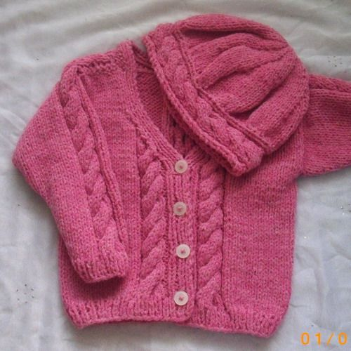 Roisin Cardigan And Hat Pdf Knitting Pattern For Babies