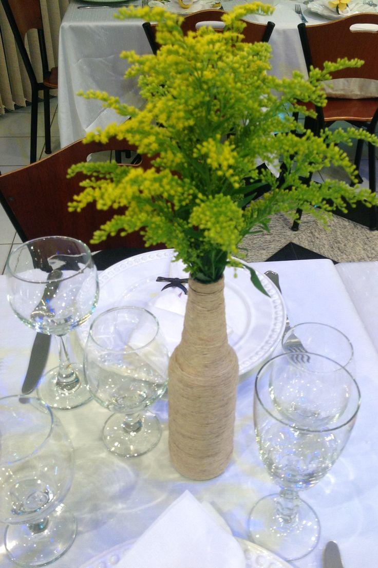 Adesivo De Umbigo Para Emagrecimento ~ Garrafa enrolada com fio de juta para centro de mesa! Artesanato by Cris De Lam u00f4nica