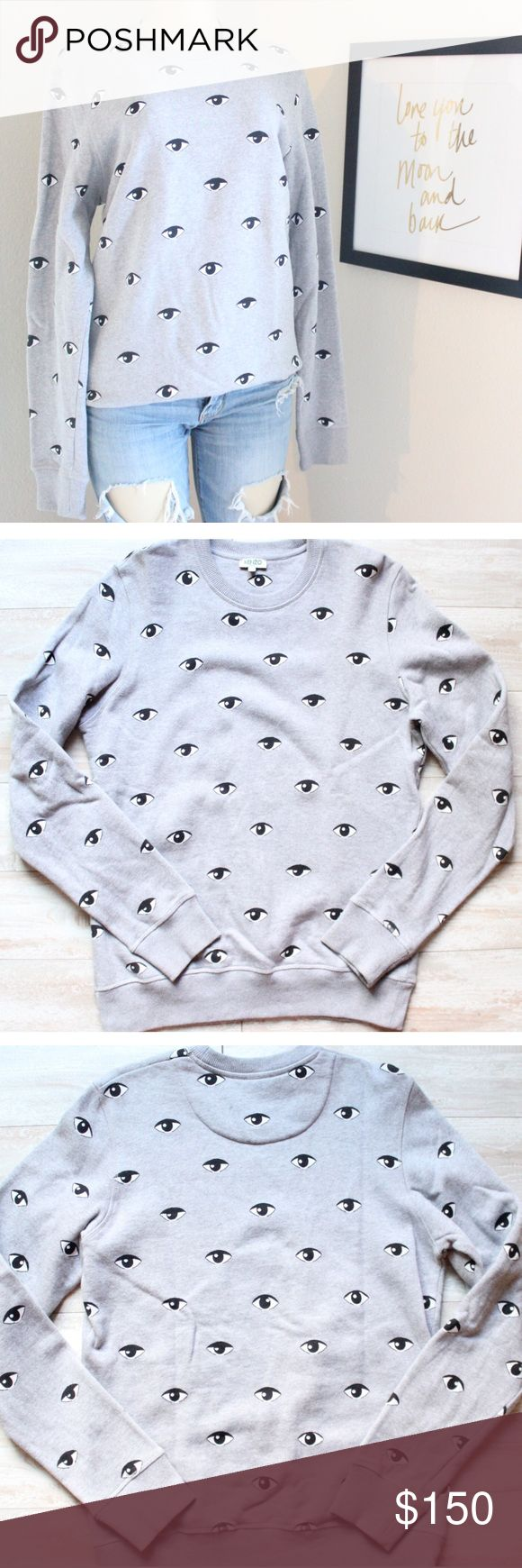 Kenzo Gray Eye Sweatshirt⭐️ Ok can we talk😍🔥 KENZO gray eye sweatshirt for women (but can also fit Men)size medium NWOT, new without tags, sold out everywhere, when I tell you this is the softest most majestic feeling cotton I mean it, this sweater is so EYE catching 👁(pun intended) you will definitely be the FOCAL😜👀point in the room, this sweatshirt is everything⭐️ Kenzo Sweaters Crew & Scoop Necks
