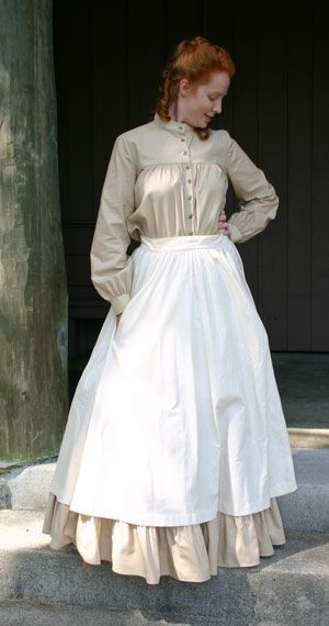 Life on a farm had its influence on ladies clothing, and the hemlines were raised a bit to save them from dirt and wear. Often, the lifestyle demanded work that made a corset impractical, and these were often not worn, except for more formal occasions. For this same reason, bodices and sleeves were fitted less closely than on their city cousins. An apron was often worn to protect the dress underneath, as it was much easier to launder the apron than to repeatedly wash a dress.