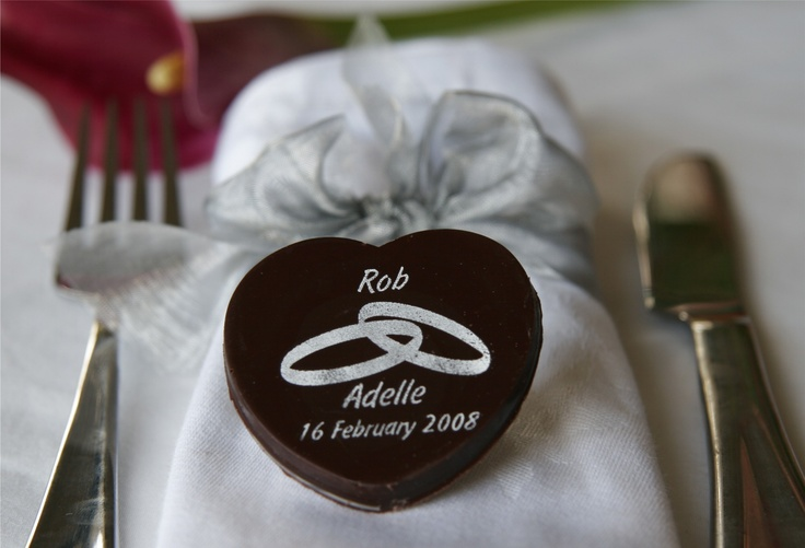 Personalised chocolates - wedding, hearts, names and date