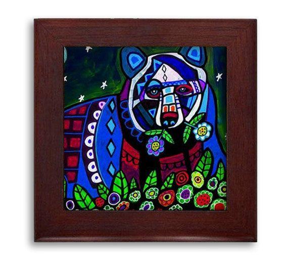 Bear Folk Art Ceramic Framed Tile by Heather Galler - Animals Ready To Hang Tile Frame Gift