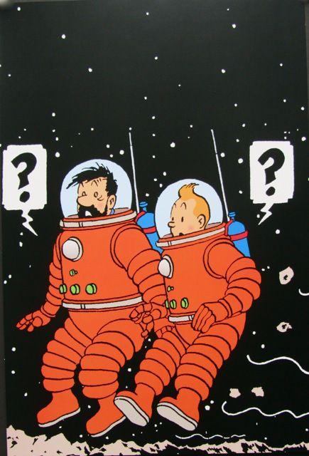 tintin-et-haddock-surpris • Tintin and Captain Haddock on the moon • a Explorers on the Moon • Tintin, Herge j'aime