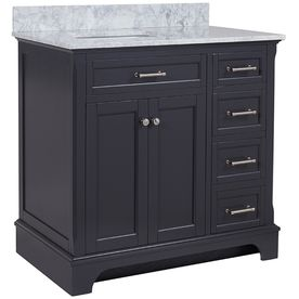 allen + roth Roveland Gray Undermount Single Sink Birch Bathroom Vanity with…