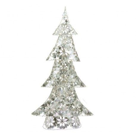 Decoraciones navideñas para el hogar. Arbol de navidad estrellas realizado a mano en hierro pintado con hoja plateada.      Ancho: 12 cm     Largo: 30 cm     Alto: 60 cm     Color: Plateado con blanco     Fabricado a mano