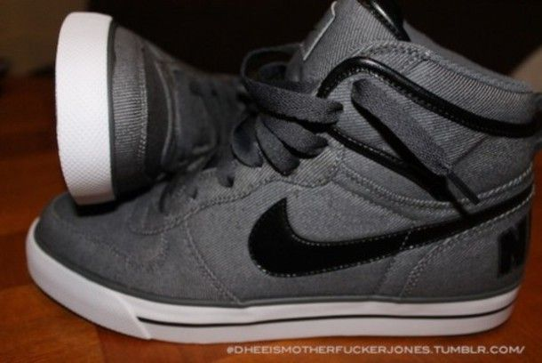 shoes nike gray black high top hightops nike high tops nike hightops high top sneakers sneakers white grey nike high tops