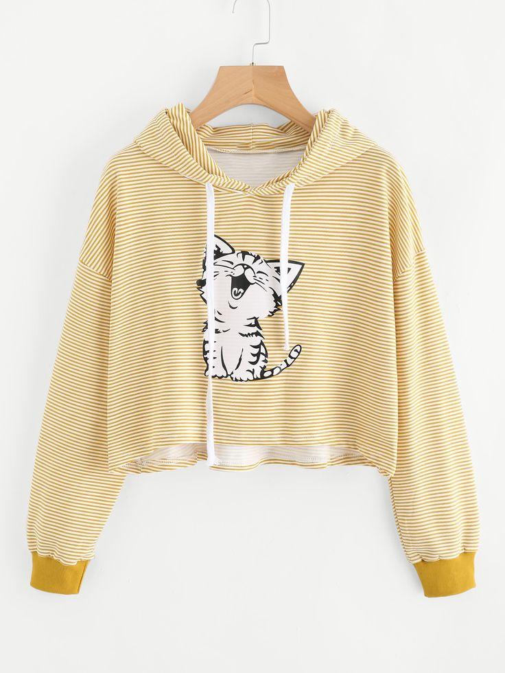 Shop Cat Print Striped Hoodie online. SheIn offers Cat Print Striped Hoodie & more to fit your fashionable needs.