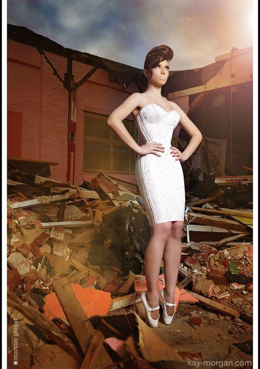 Photo Kay Morgan Pink Corset Dress And Ballet Heels