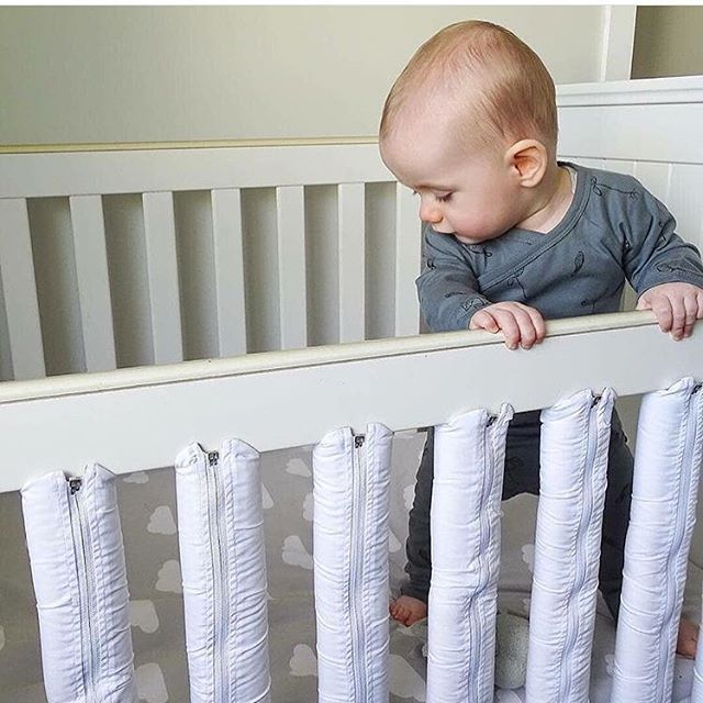 Man This Crib Is Comfy Safe And Stylish Okay Thats Just What We Think Is Running Through His Mind Crib Liners Traditional Cribs Crib Bumper