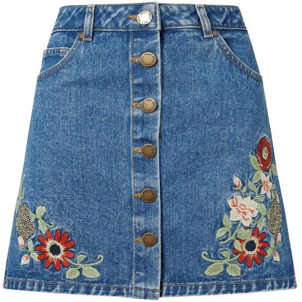 Miss Selfridge Floral Embroidered Denim Skirt ($57) ❤ liked on Polyvore featuring skirts, bottoms, mid wash denim, floral printed skirt, floral knee length skirt, flower print skirt, floral print skirt and embroidered skirt