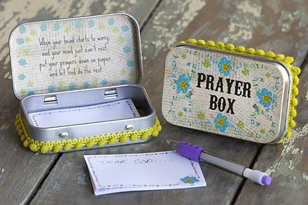 When your head starts to worry, and your mind just can't rest, put your prayers down on paper and let God do the rest. Prayer boxes by Natural Life. Sold at CCJC!
