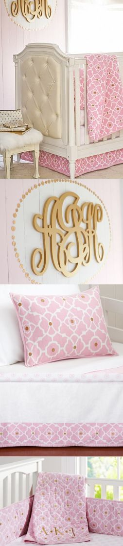 Gorgeous nursery for baby girl -- loving the monogram | pottery barn