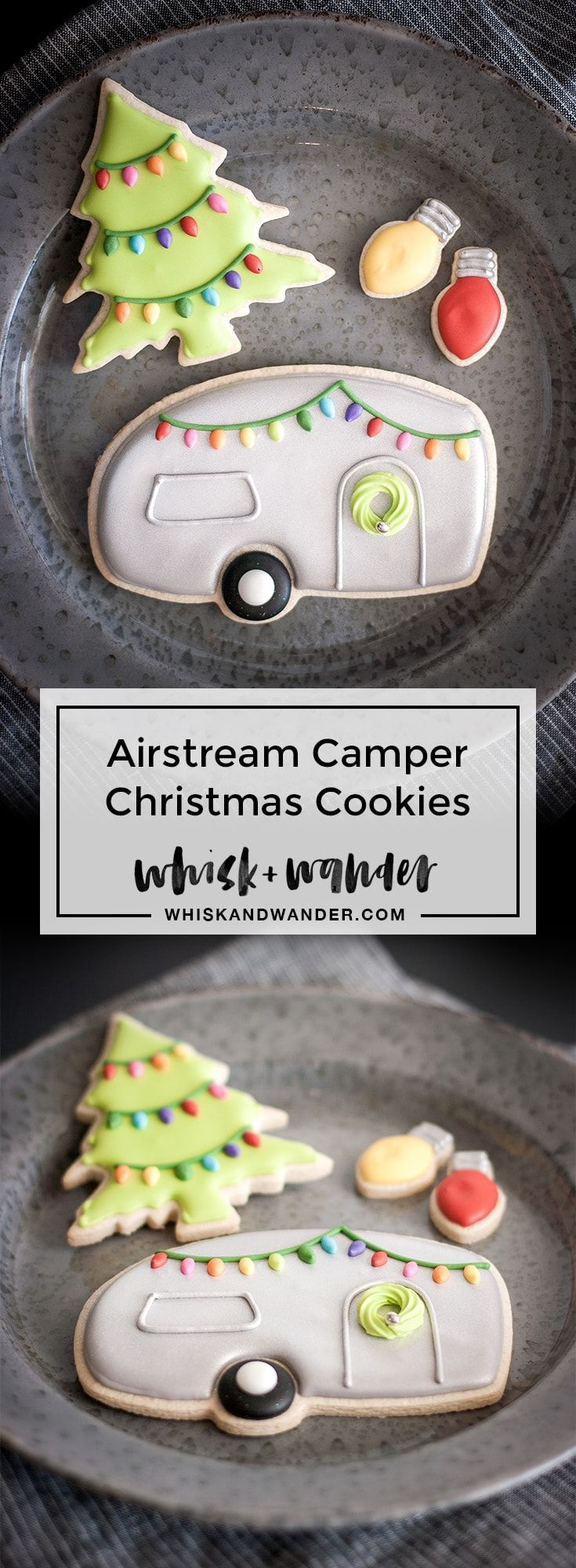 Airstream camper Christmas cookies decorated with vintage style Christmas lights and a royal icing wreath. Retro Christmas tree light bulbs, too! via @whiskwander
