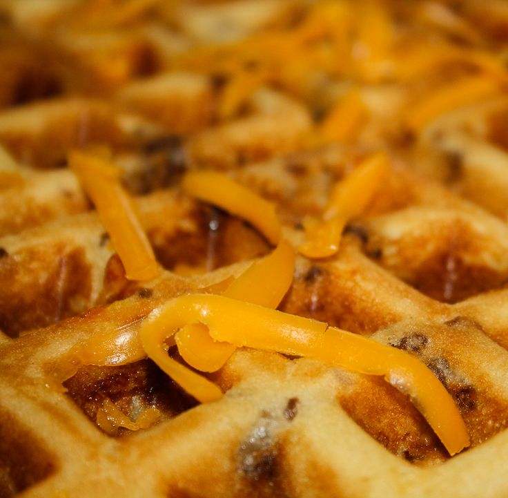 Savory Sausage and Cheese Waffles ~ Delish... cheesy and hearty with just enough sweet and salty!
