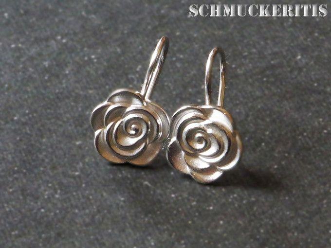 Blüten-Ohrhänger, 925er Sterling, Rosen von Schmuckeritis auf DaWanda.com