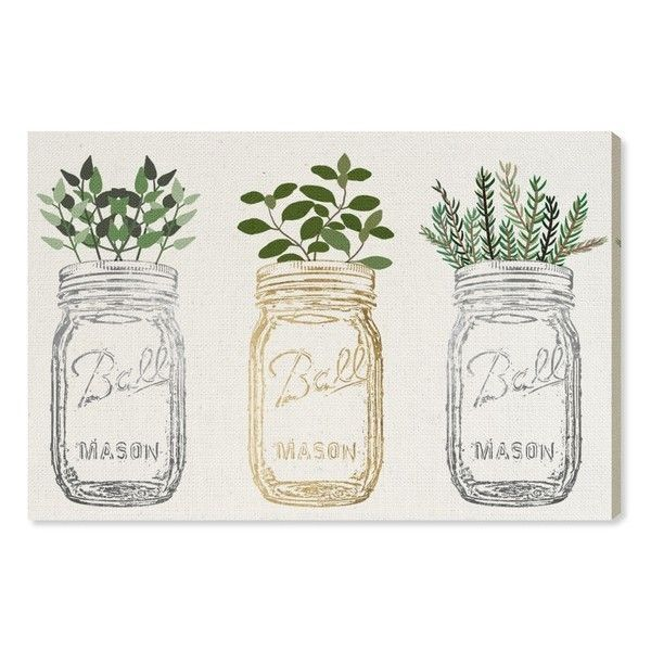 Oliver Gal Mason Jars & Plants Canvas Wall Art (555 PEN) ❤ liked on Polyvore featuring home, home decor, wall art, white, stretched canvas, canvas wall art, white home decor, canvas home decor and rustic wall art