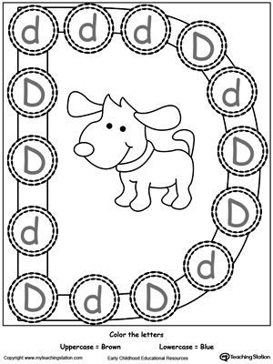 Recognize Uppercase and Lowercase Letter D: Teach your preschooler to recognize uppercase and lowercase letters. Learn the alphabet in a fun way by practice identifying the uppercase and lowercase letter D with this printable activity worksheet.