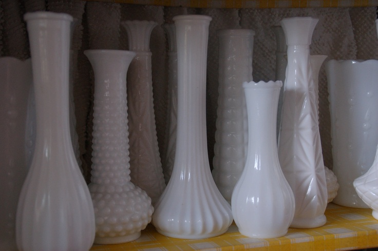Set of 6 vintage milk glass bud vases shabby chic french country wedding shower party decor instant collection. $30.00, via Etsy.
