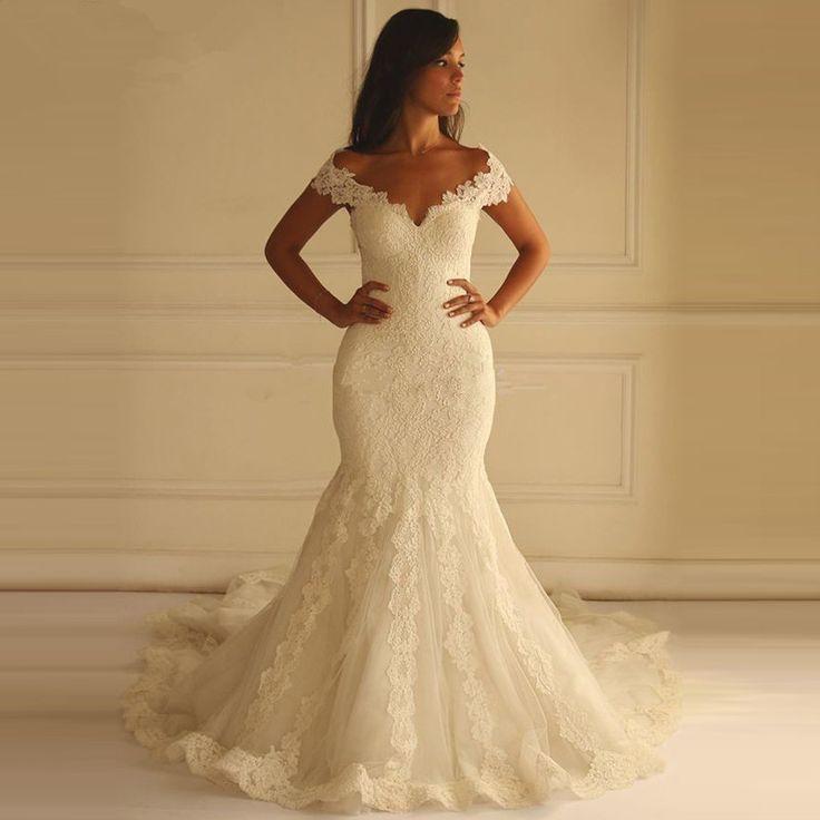 Online Shop Robe De Mariage Sexy V-Neck Romantic Mermaid Wedding Dresses 2016 Cap Sleeve Lace Wedding Bride Gown Plus Size Vestido De Noiva|Aliexpress Mobile
